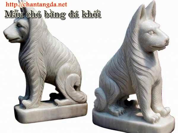 Tượng chó bằng đá trắng