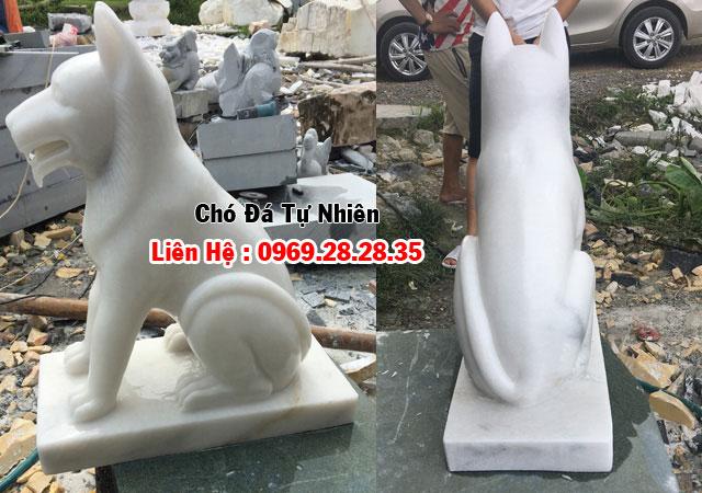 tượng chó làm từ đá đá trắng