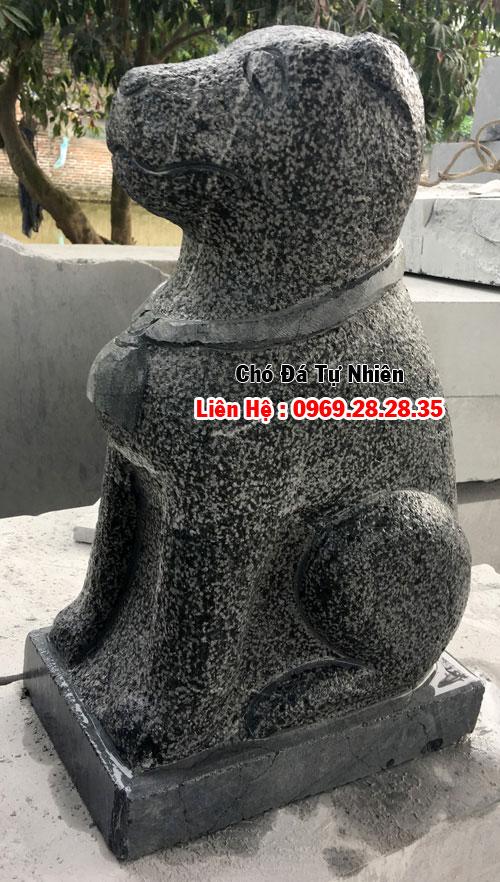 tượng chó cổ làm từ đá xanh đen