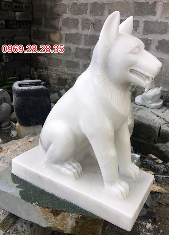 Chó đá canh cổng làm từ đá trắng yên bái